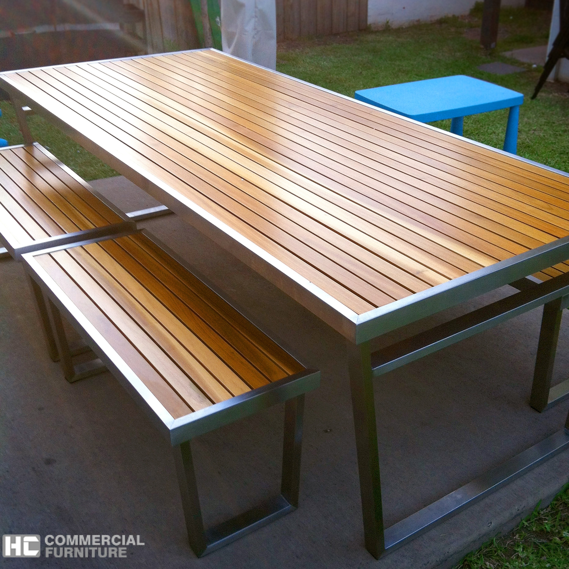 Teakwood Stainless Steel Table Set Hccf Commercial Furniture